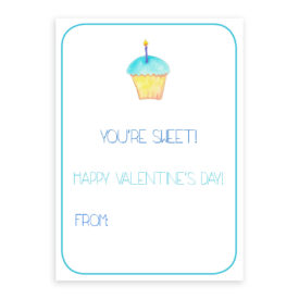 Cupcake Valentine card printed on heavy white card stock