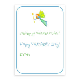 Fairy Valentine card printed on white card stock