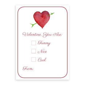 Heart with Arrow Valentine Card printed on heavy white paper