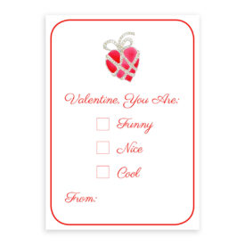 Heart with Jewels valentine card printed on heavy white paper.
