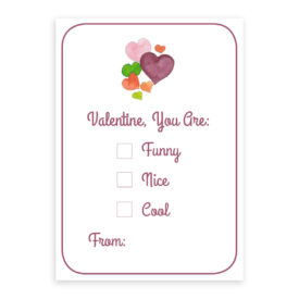Hearts Valentine card printed on heavy white paper.