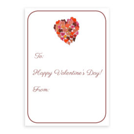 Valentine Card featuring a heart printed on heavy white paper