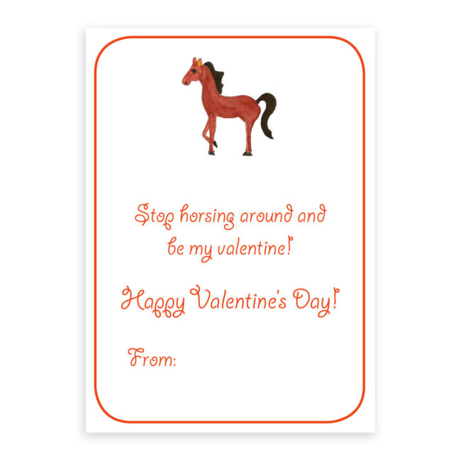Horse Valentine card printed on white paper