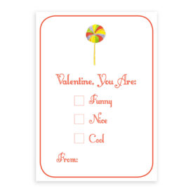Lollipop Valentine card printed on heavy white stock paper