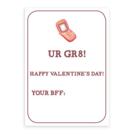 Phone Valentine card printed on white heavy card stock