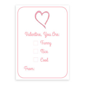 Pink Heart Valentine printed on white card stock paper