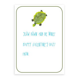 Turtle Valentine printed on white card stock paper