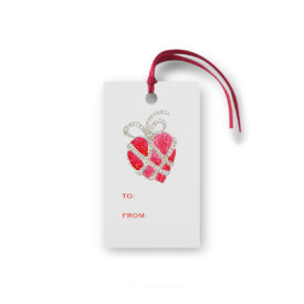 Heart with Jewels Glittered Gift Tag