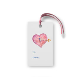 Heart and Key Glittered Gift Tag