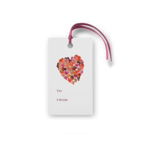 Hearts o Plenty image on a gift tag that is glittered.