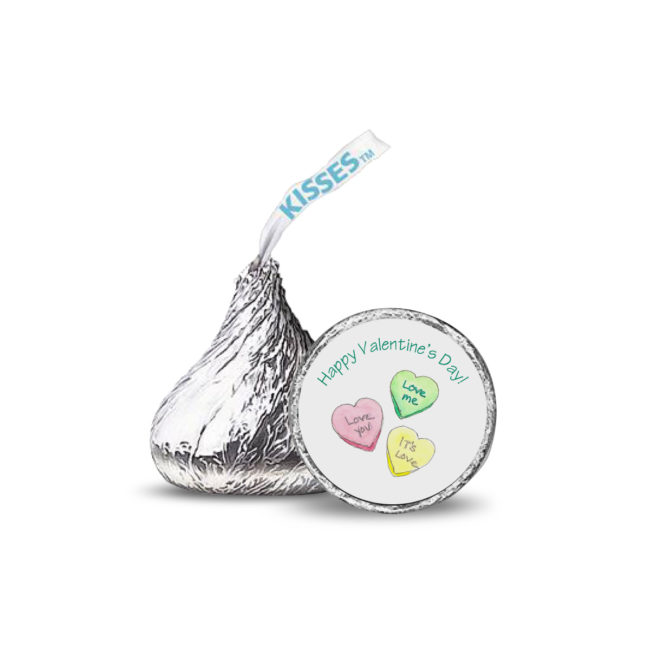 Personalized Candy Sticker with Conversation Hearts.