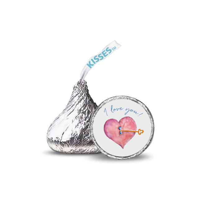 Heart and Key image on a round sticker that fits on the bottom of a Hershey Kiss