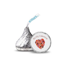 Multiple hearts image adorns a personalized round candy sticker.