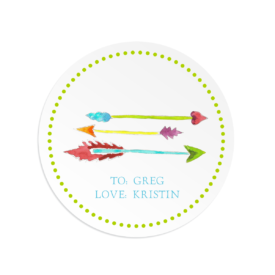 Sweetheart Arrows adorn a Round Gift Sticker
