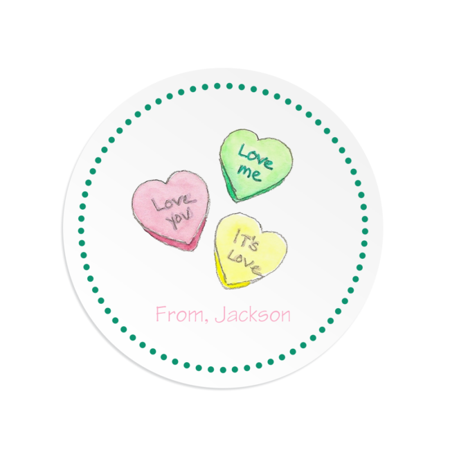 Conversation Candy adorns a Round Gift Sticker