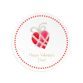 Heart with Jewels image printed on a Round Gift Sticker
