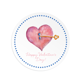 Heart and Key image adorns a Round Gift Sticker