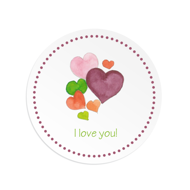 Hearts image adorns a Round Gift Sticker