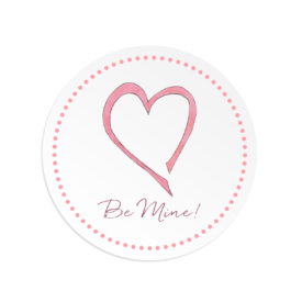 Pink Heart on a Round Gift Sticker