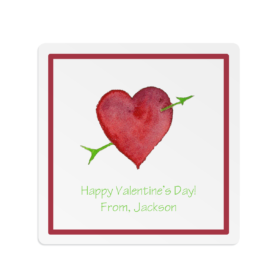 Heart and Arrow adorns a Square Gift Sticker