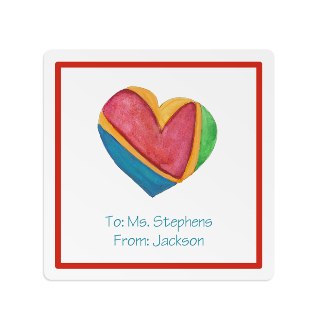 Colorful Heart image on a Square Gift Sticker
