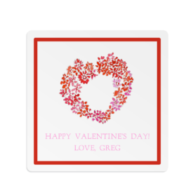 Heart of Flowers image on a Square Gift Sticker