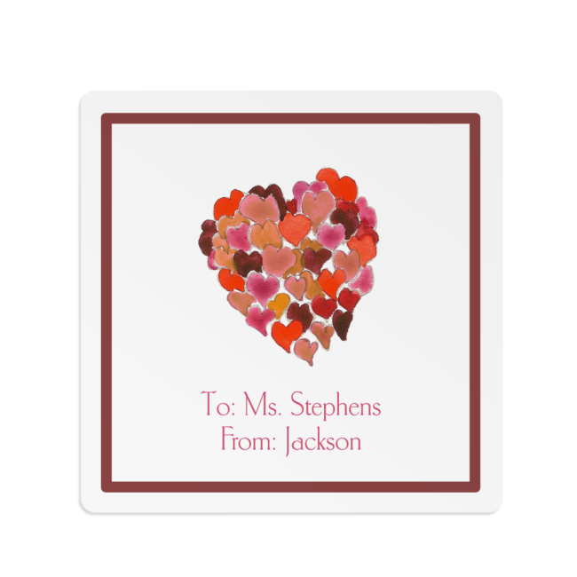 Hearts o Plenty image printed on a Square Gift Sticker