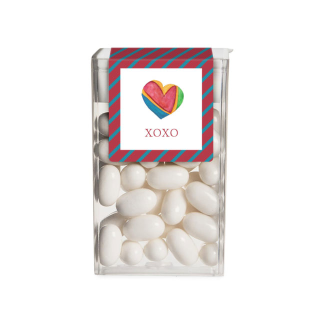 Colorful Heart image printed on a sticker that fits on a Tic Tac box