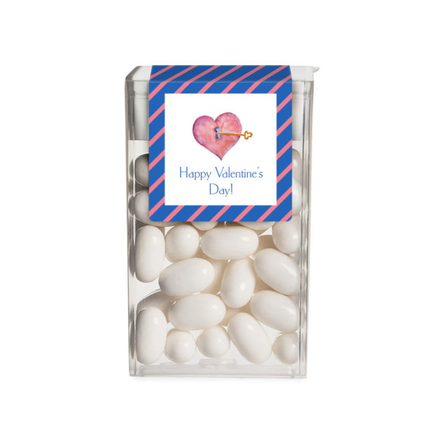 Heart and Key image printed on a sticker that fits on a Tic Tac box