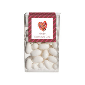 Hearts image printed on a sticker that fits on a tic tac box