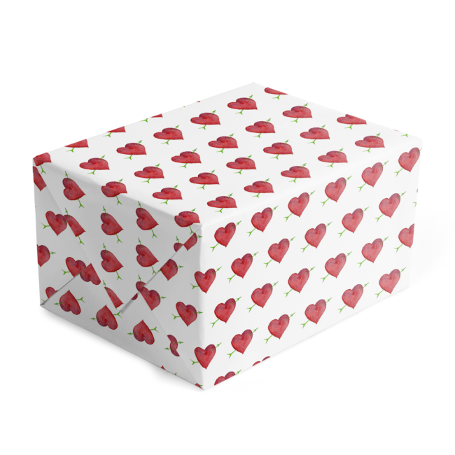 Custom Gift Wrap with Heart and Arrow image printed on white paper.