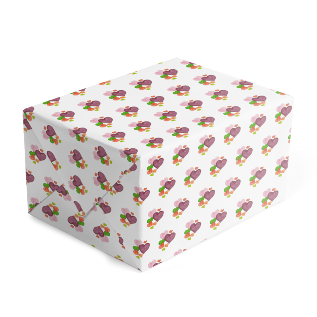 Custom Gift Wrap with Hearts printed on white paper.