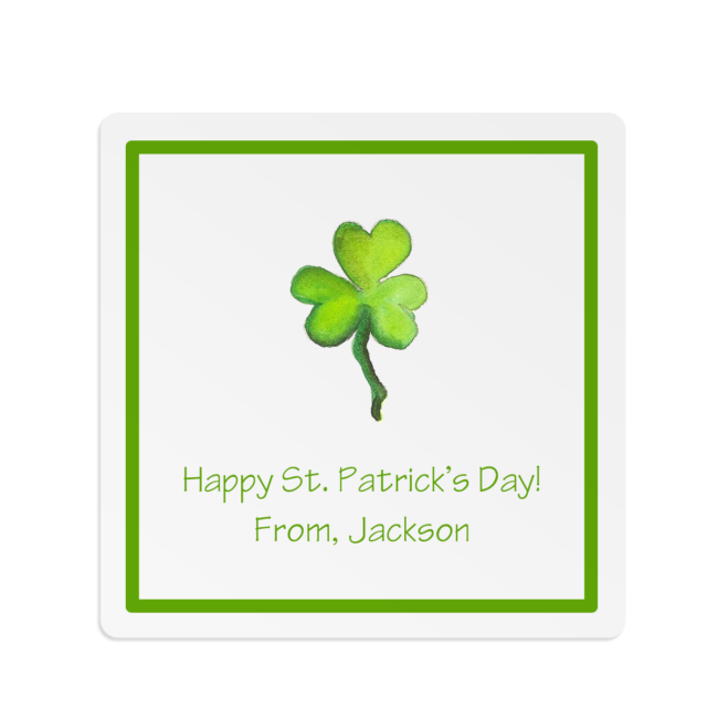 Square white sticker with a shamrock perfect for a party favor.