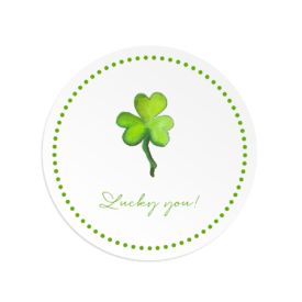 Large Round sticker with a shamrock that can be personalized.