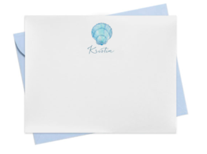 Shell image adorns a personalized note card.