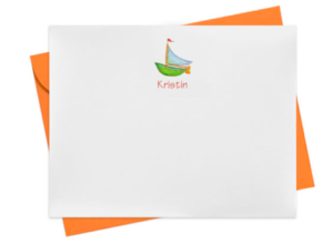 Sailboat image adorns a personalized note card.