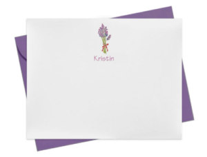 Lavender image adorns a personalized note card.