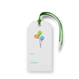 Balloons image adorns a Classic Gift Tag printed on White paper.