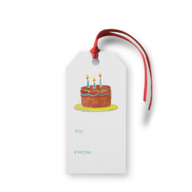 Birthday Cake image adorns a Classic Gift Tag printed on White paper.