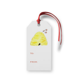 Beehive image adorns a Classic Gift Tag printed on White paper.