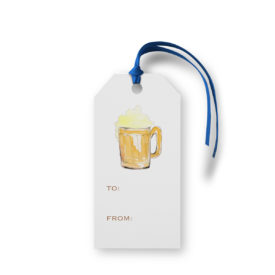 Beer image adorns a Classic Gift Tag printed on White paper.