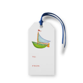 Sailboat image adorns a Classic Gift Tag printed on White paper.