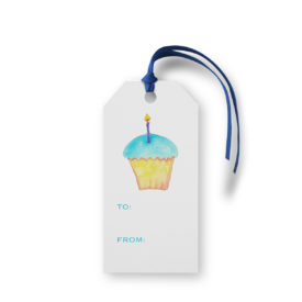 Cupcake image adorns a Classic Gift Tag printed on White paper.