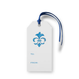 Fleur de Lis image adorns a Classic Gift Tag printed on White paper.