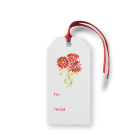 Gerber Daisies image adorns a Classic Gift Tag printed on White paper.