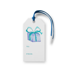 Blue Present adorns a Classic Gift Tag printed on White paper.