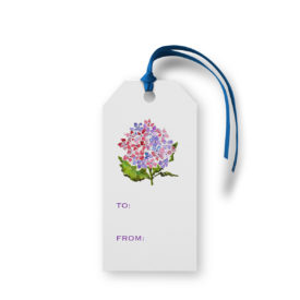 Purple Hydrangea flower adorns a Classic Gift Tag printed on White paper.