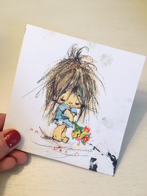 Notecard featuring an image of a little girl