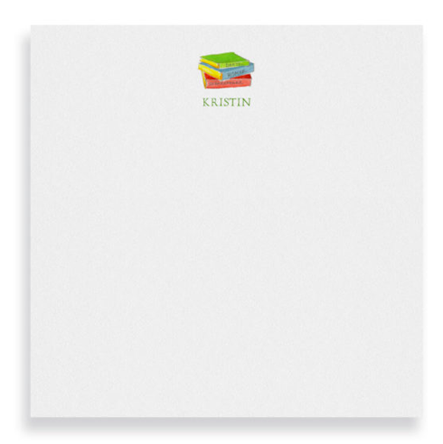 Square Notepad with a stack of books printed on white paper.