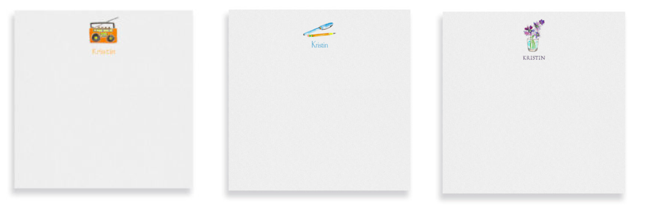 Square notepads printed on White paper featuring watercolor images.